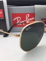 New RAN-BAN Sunglasses HEXAGONAL RB 3548-N 001 48-21 140 Gold Frame w/ G15 Green image 7