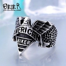 American Stainless Steel Punk Biker Motorcycle Freedom Eagle Ring Animal Jewelry - $13.70