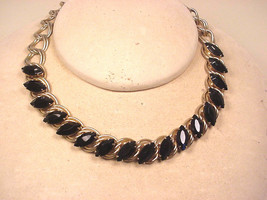 Choker Vintage 1960-70's Black Glass Faceted Marquis Stones  - $19.80