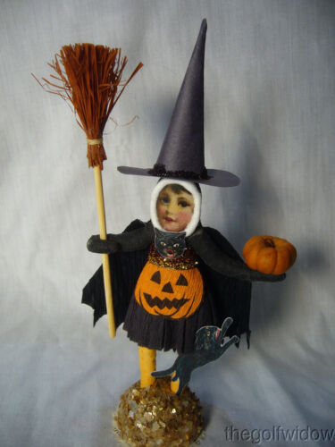 Vintage Inspired Spun Cotton Halloween Witch Girl no. HW19