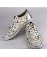 Coach Barret women's sneakers signature logo white silver gray size 7.5 B - $29.57