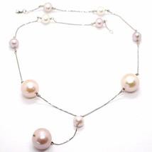 Halskette Lasso Weißgold 18K mit Anhänger, Perlen Groß, Weiß und Violet, 16 MM image 1