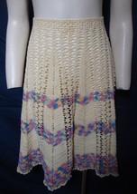 Vintage Crochet Apron Handmade Colorful Chevron Pattern Long Cotton Coll... - $44.55