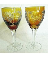 Amber Wine Glass Traube Cut to Clear Grapes Czech Set 2 Vintage - $35.99