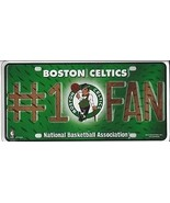 BOSTON CELTICS GREEN NBA BASKETBALL LOGO  #1 FAN  METAL LICENSE PLATE - $27.07
