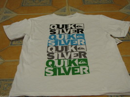 Boy's youth Quiksilver surf skate t shirt large kids word up TBAR white ... - $8.16