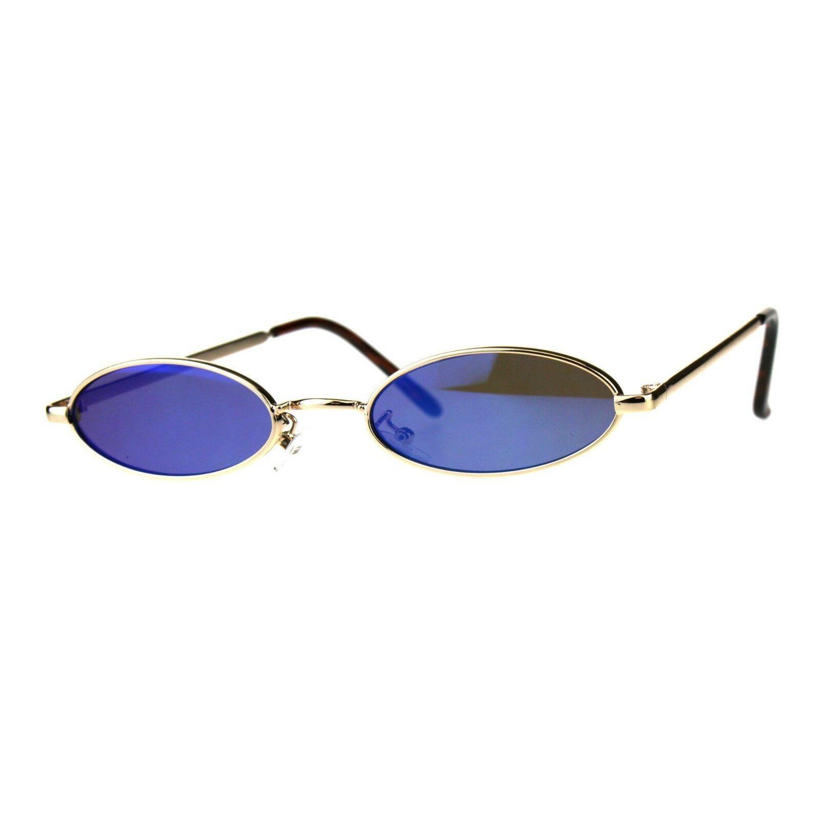 Super Skinny Sunglasses Womens Oval Flat Metal Frame Mirror Lens UV400
