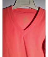 Fleece V-Neck Top Coral Made for Life Brand Small Long Sleeve Soft - $14.80