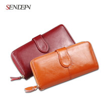 SENDEFN 100% Oil Wax Cowhide Leather Women Wallet Phone Pocket Purse Wal... - $41.95