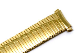 15-18mm Gold Stainless Steel Twist O Flex Expansion Watch Band Strap Curved Ends - $14.84