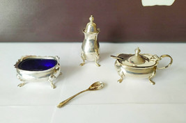 Walker and Hall Sterling Silver 3 Piece Cruet Set Cased c1960s - $287.95