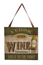 "KURT S. ADLER ""I COOK WITH WINE..."" WINE BOTTLE PLAQUE CHRISTMAS ORNAMENT - $4.88"