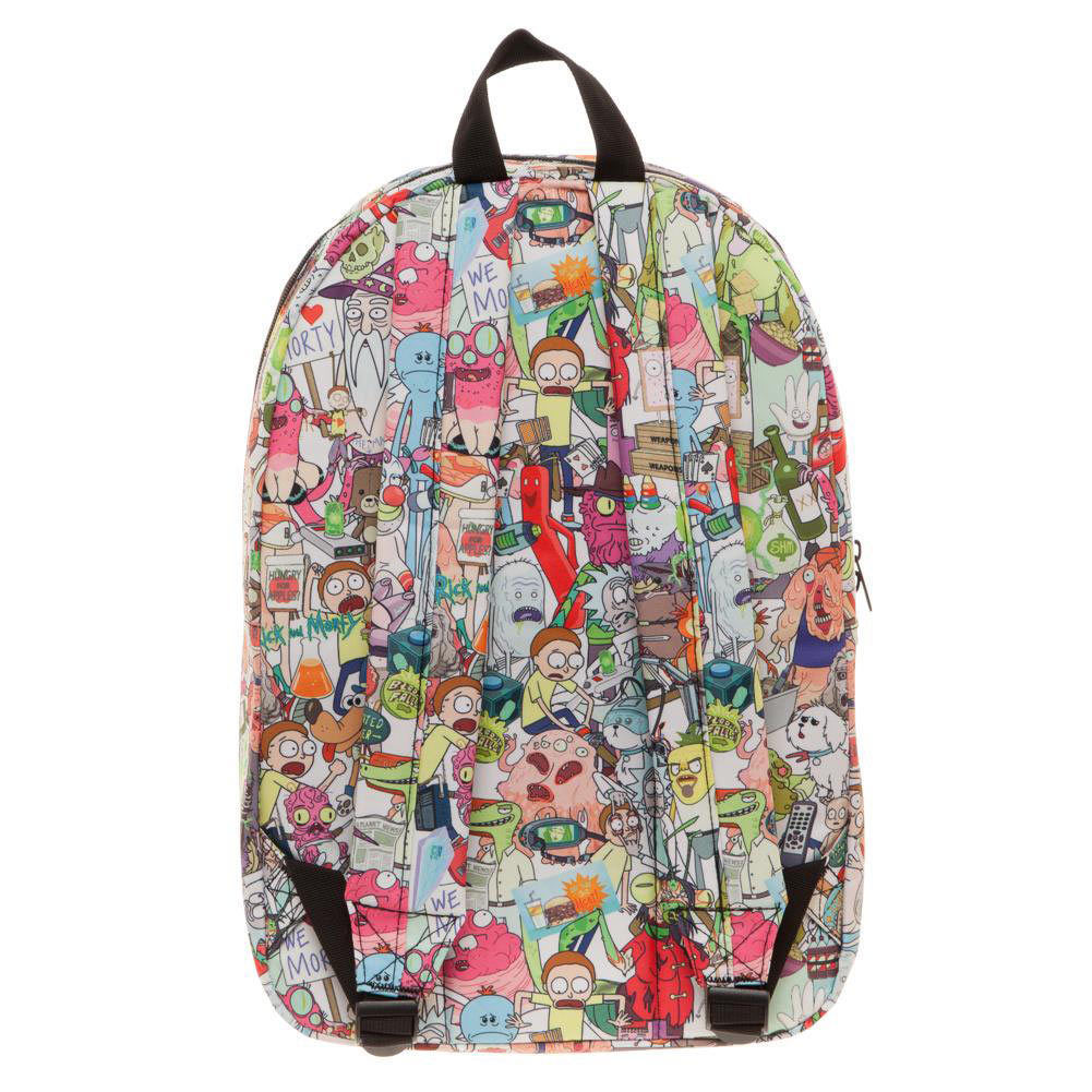Rick and Morty All Over Print Backpack White