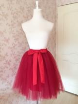 DARK RED Knee Length Elastic Waist A Line Tulle Skirt Bridesmaid Tulle Skirt NWT image 4