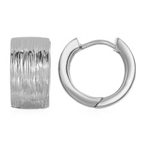"""Womens Textured 1"""" Hoop Fashion Earrings w/ White Finish in Sterling Silver - $68.25"""