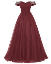 Long Tulle Prom Dress Beaded Off Shoulder Evening Gown Formal Dress Burg... - $127.00