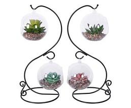 TQVAI Glass Hanging Terrarium Air Plant Globe Vase with Stand, 2 Pack - $27.38