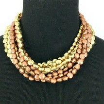 JOAN RIVERS chunky multi-strand beaded statement necklace - copper gold-... - $24.50