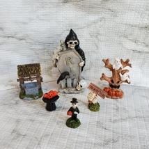 Cemetery Fairy Garden Kit, Miniature Halloween Village Set, Grim Reaper Ghost image 1