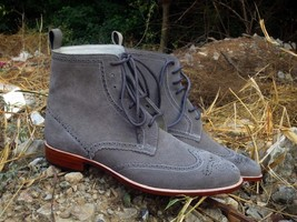 Handmade Men's Gray Wing Tip Brogues Style High Ankle Lace Up Suede Boots image 1