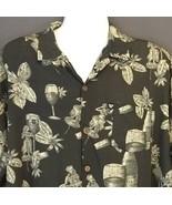 Stolen Pig Hawaiian Shirt XL Black Hula Girl Dancer Wine Glass Bottle Co... - $32.85