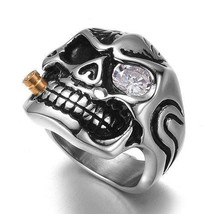 Titanium Stainless Steel Skull Ring Vintage Punk Goth Biker sz 12 New image 2