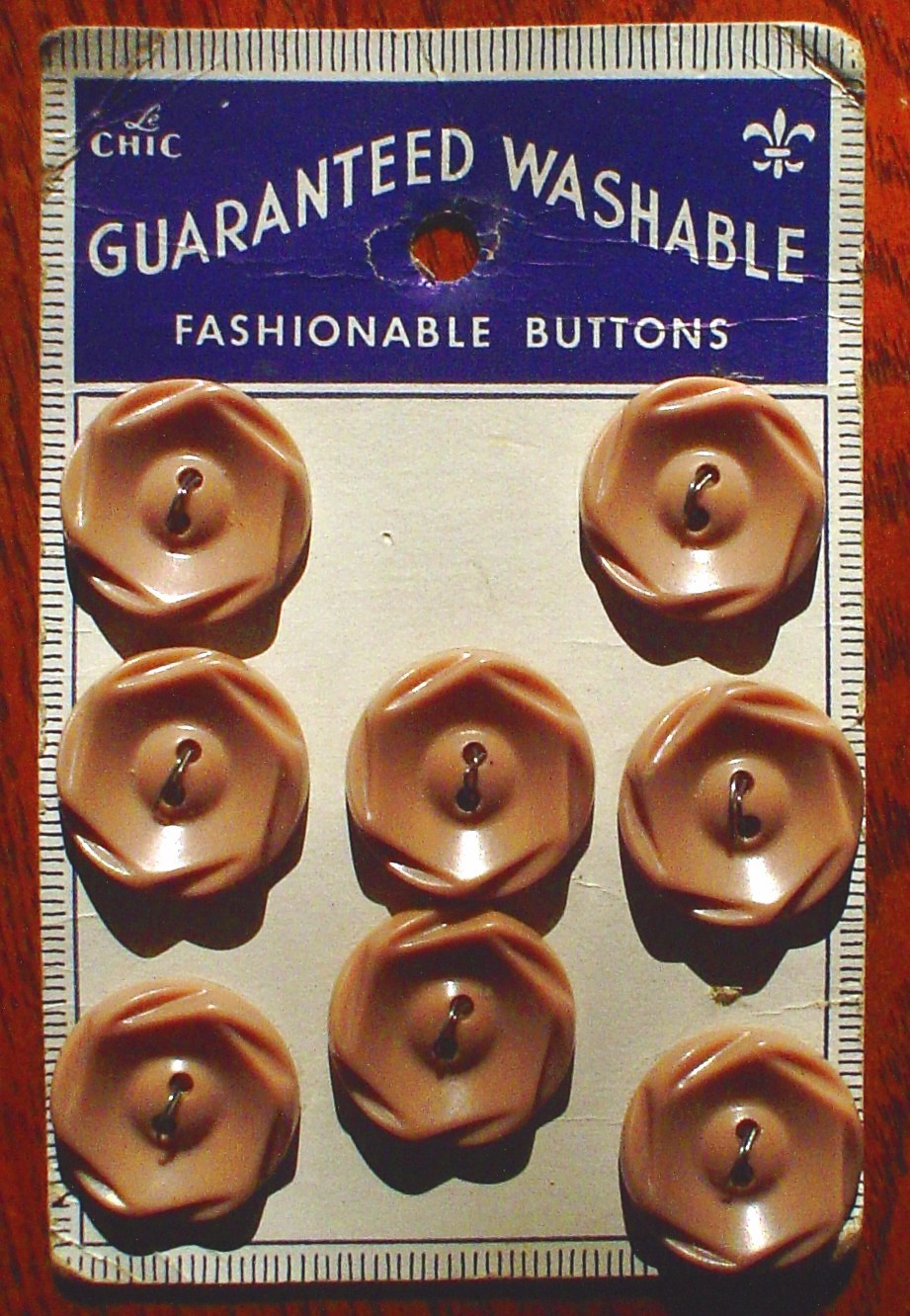 Primary image for Set of 8 Vintage Le Chic Taupe Brown Plastic Buttons Card New