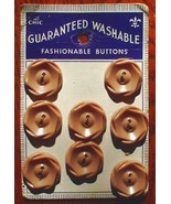 Set of 8 Vintage Le Chic Taupe Brown Plastic Buttons Card New - $6.99