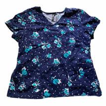 Barco KDIIO Size XL Women's Nurse Blue & White Floral Scrub Top With Poc... - $14.85