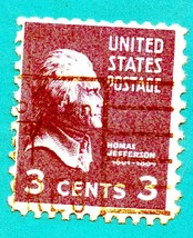Scott   #807- Used 1938 US Postage Stamp 3c - Thomas Jefferson - $1.99
