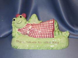 "Hattie Frog ""Thank Heaven for Little Girls"" Coin Bank. - $18.00"