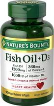 Nature's Bounty Fish Oil + D3 1200 mg Softgels 90 ea - $51.60
