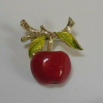 Signed Jerry's Gold -tone Enamel Apple Brooch - $14.84