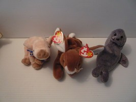 Ty Beanie Babbies Pig Knuckles MWT + Rabbit Ears MWT +Slippery Seal Set ... - $9.89