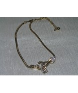 Vintage Tara Signed Goldtone Snake Chain w Clear Rhinestone Swirl Leaf P... - $23.26