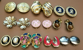 Lot of 10 Vintage Gold Tone Clip On Earrings - $9.90
