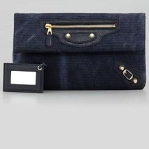 $975 BALENCIAGA BAG - Moto Envelope Clutch in Navy Blue & Gold Canvas Le... - $354.42
