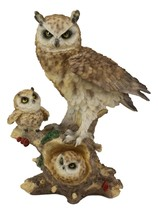 Brown Great Horned Owl Mother Perching On Tree Branch With Owlets Statue... - $43.99
