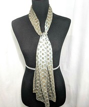 Rectangle Scarf Brown White & Mint Green Ombre Circle Pattern - $17.95