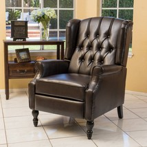 Contemporary Tufted Recliner Chair Brown Leather Stylish Living Room Fur... - $379.00