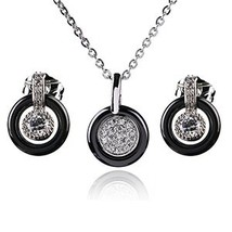 Simple Round Shaped Black White Color Jewelry Set Crystal Round Pendant ... - $17.12