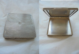 Make up case for face powder or pill BOX with mirror in SILVER 800 Origi... - $85.00