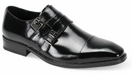 Black Tone Cap Toe Double Buckle Straps Vintage Monk Premium Leather Men Shoes - $131.18+