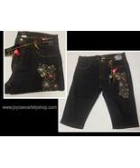 Women's Jean Shorts Stretch Indigo Dark Blue Red Floral Design Various Sz - $9.99