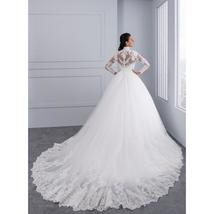 High Neck IIIusion Back Long Sleeve Wedding Dress Lace Ball Gown Wedding Gowns image 8