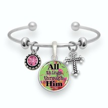 All Things Through Him Silver Cuff Bracelet Philippians 4:13 Scripture Jewelry - $13.80