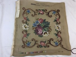 """Pretty Tapex Vienna Needlepoint Canvas Only Austria Flowers Started 16""""x16"""" - $14.01"""