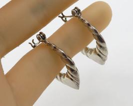 925 Sterling Silver - Vintage Swirl Love Heart Hoop Earrings 4.1g - E2601 - $24.03