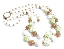 LOVELY VINTAGE WHITE, LIME GREEN & BRASS FILIGREE DOUBLE STRANDED NE... - $39.60