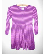 Hanna Andersson Dress Size 130 US 8 Purple Pink Stripe Long Sleeve Twirl - $16.34